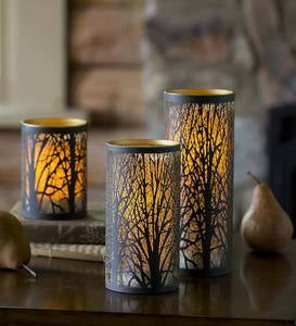 Laser Cut LED Candles with Tree Design