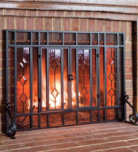 "44""W x 33""H Beveled Glass Diamond Fireplace Screen With Powder-Coated Tubular Steel Frame"