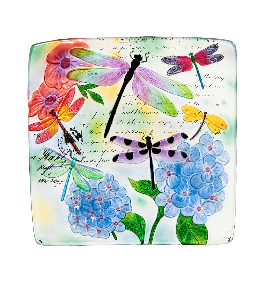 Hand-Painted Embossed Square Glass Dragonfly and Flowers Bird Bath