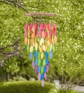 Glass Rainbow Leaves Wind Chime