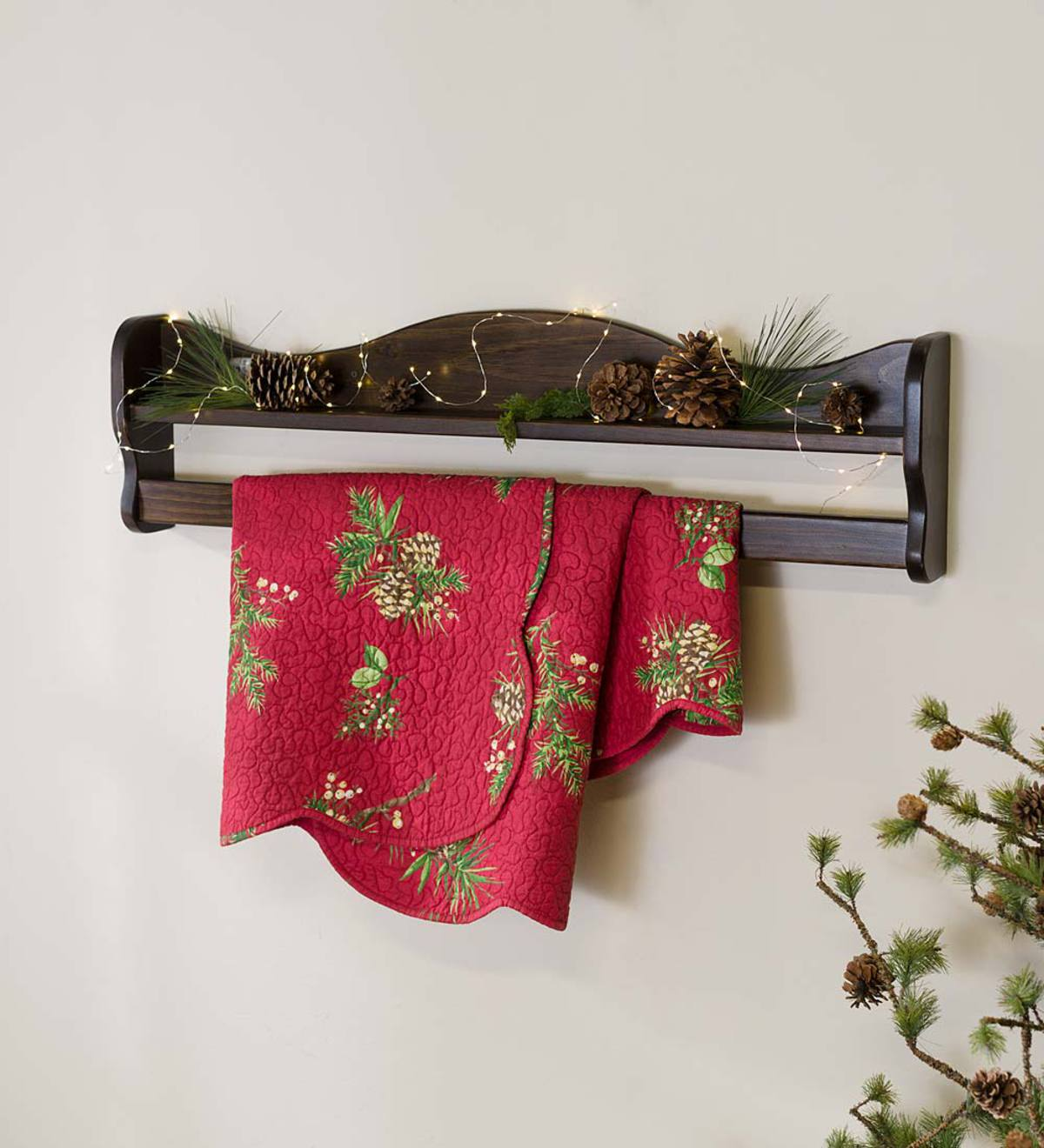 "Hanging Wall Mount Wood Quilt Rack with Shelf, 36""L"