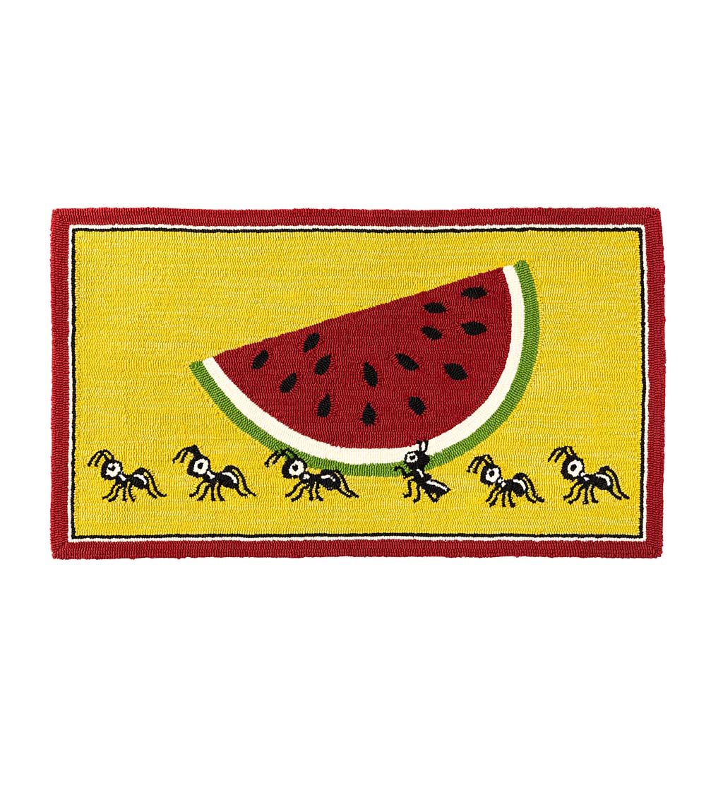 Indoor/Outdoor Summer Picnic Ants Hooked Polypropylene Accent Rug