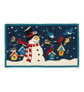 Indoor/Outdoor Hooked Snowman with Winter Birds Accent Rug