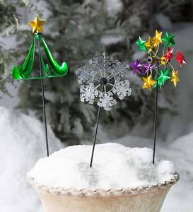 Holiday Garden Stake Pinwheels, Set of 2
