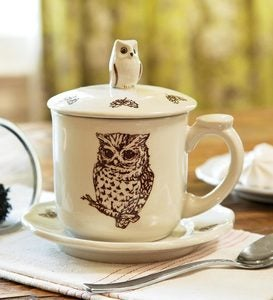 Horned Owl Bone China Covered Teacup And Saucer
