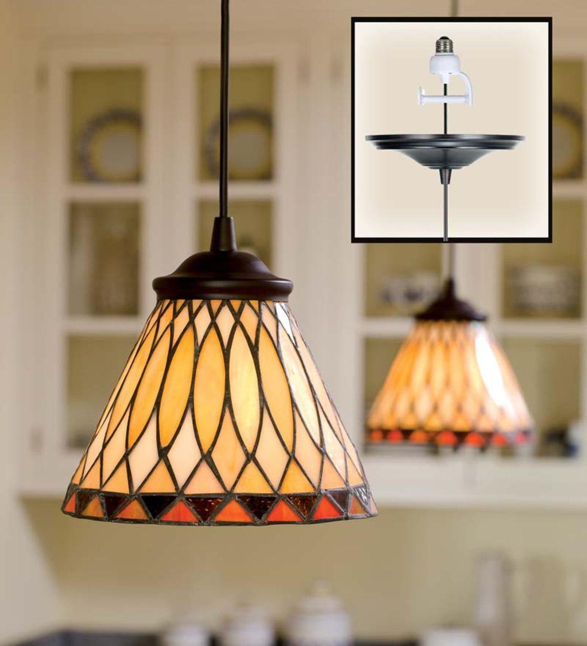 Screw In Stained Glass Pendant Light Plowhearth