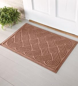 Quick-Drying Woven Knot Waterhog Doormat - Medium Brown