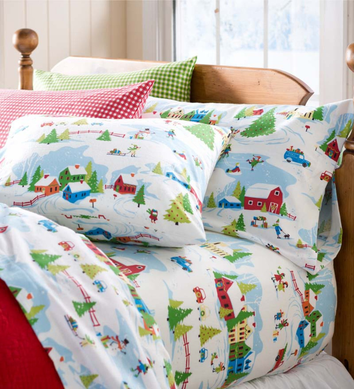 King Winter Wonderland Portuguese Cotton Flannel Sheet Set Plowhearth