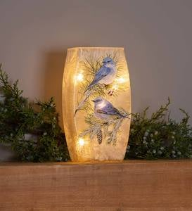 Winter Bluebirds Frosted Glass Accent Light