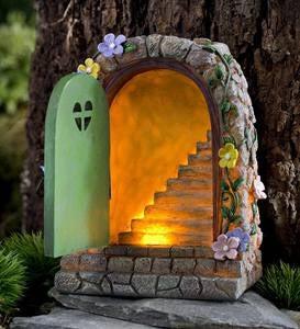 Miniature Fairy Garden Solar Stone Door. U2039 U203a