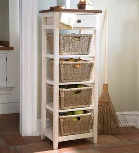 Drawer Stand with Shelves and Wicker Storage Baskets