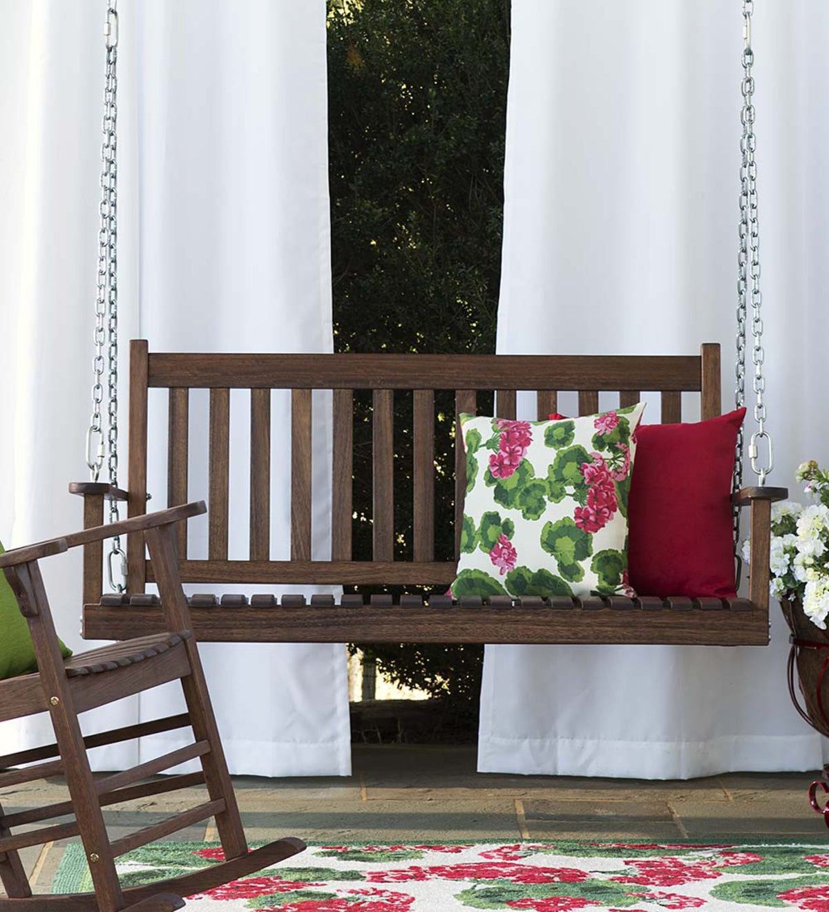 Slatted Wood Porch Swing Slatted Wood Porch