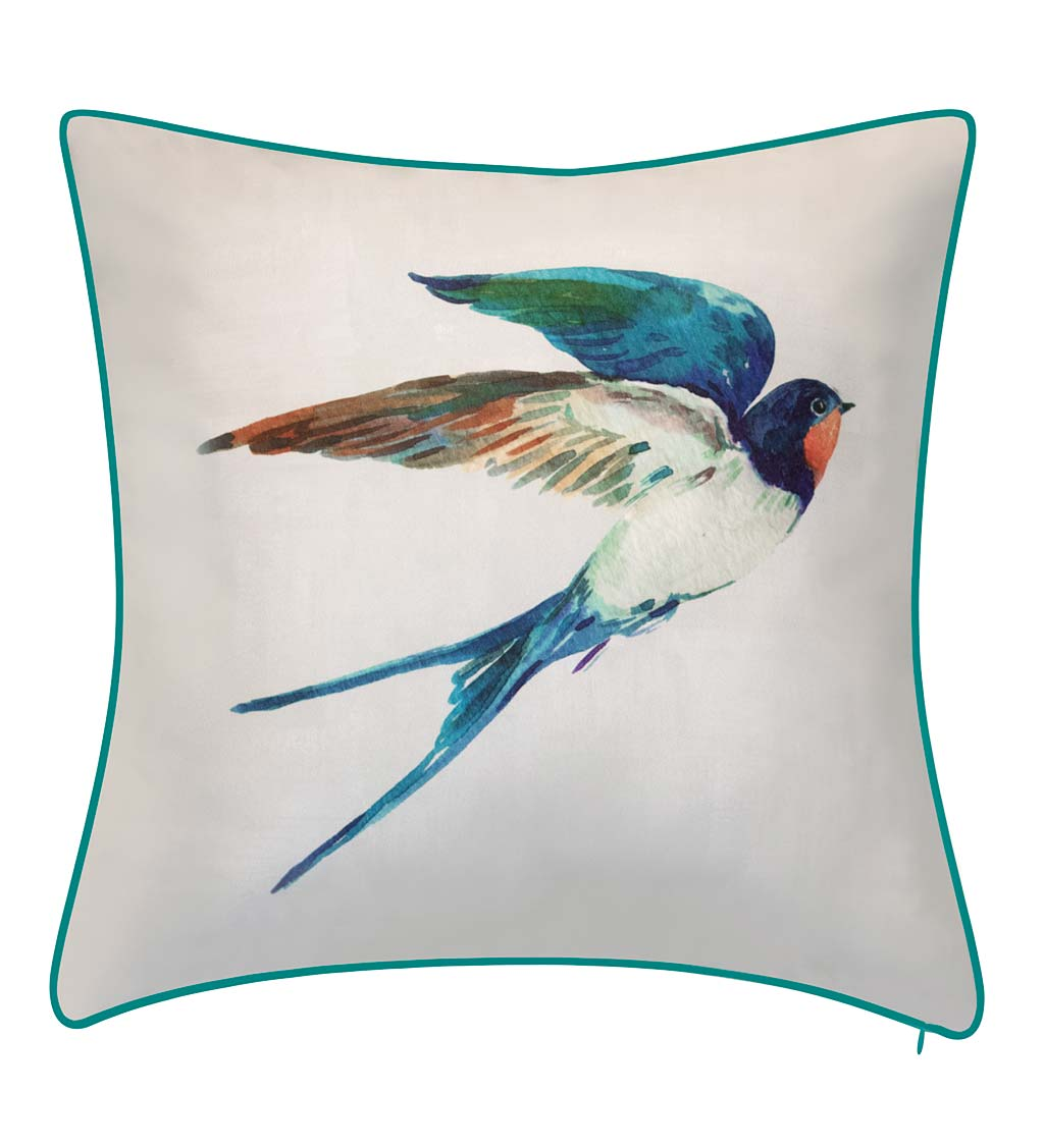 Outdoor/Indoor Watercolor Blue Bird Throw Pillow