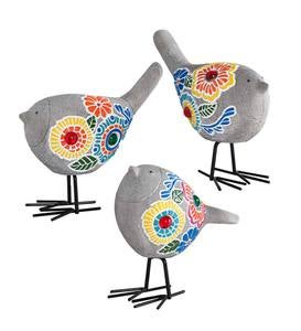 Painted Mosaic Garden Birds, Set of 3