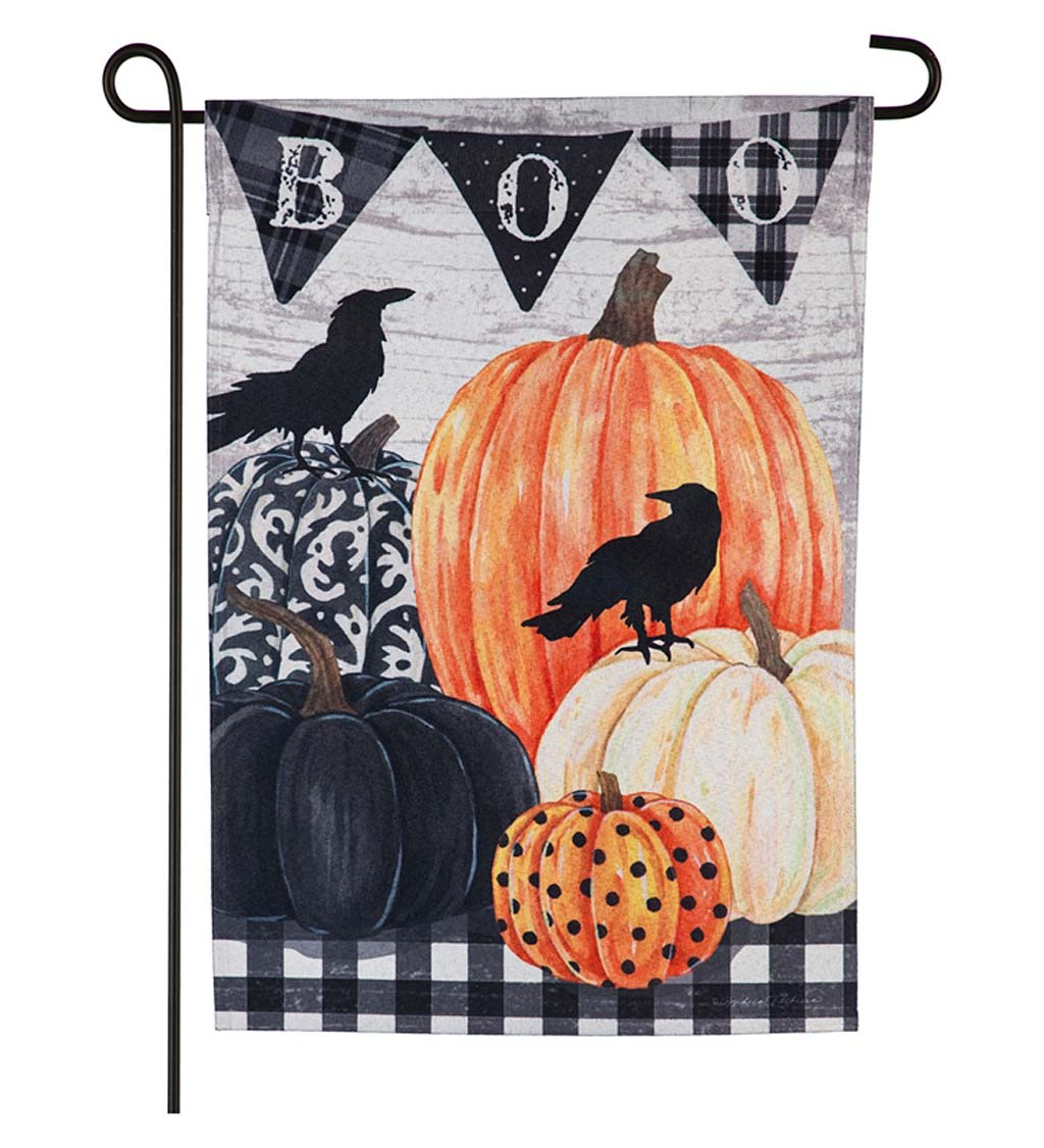 Pumpkins and Crows Linen Garden Flag