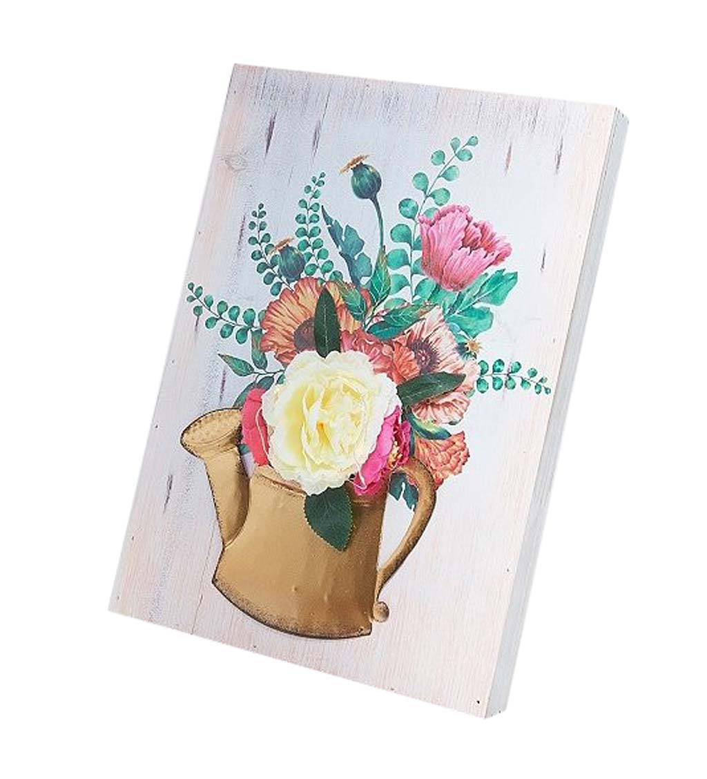 Watering Can Floral Wall Art - Yellow