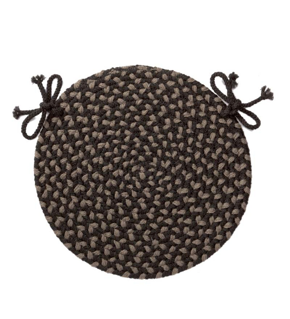 Indoor/Outdoor Braided Polypro Roanoke Round Chair Pad with Ties - Black Multi