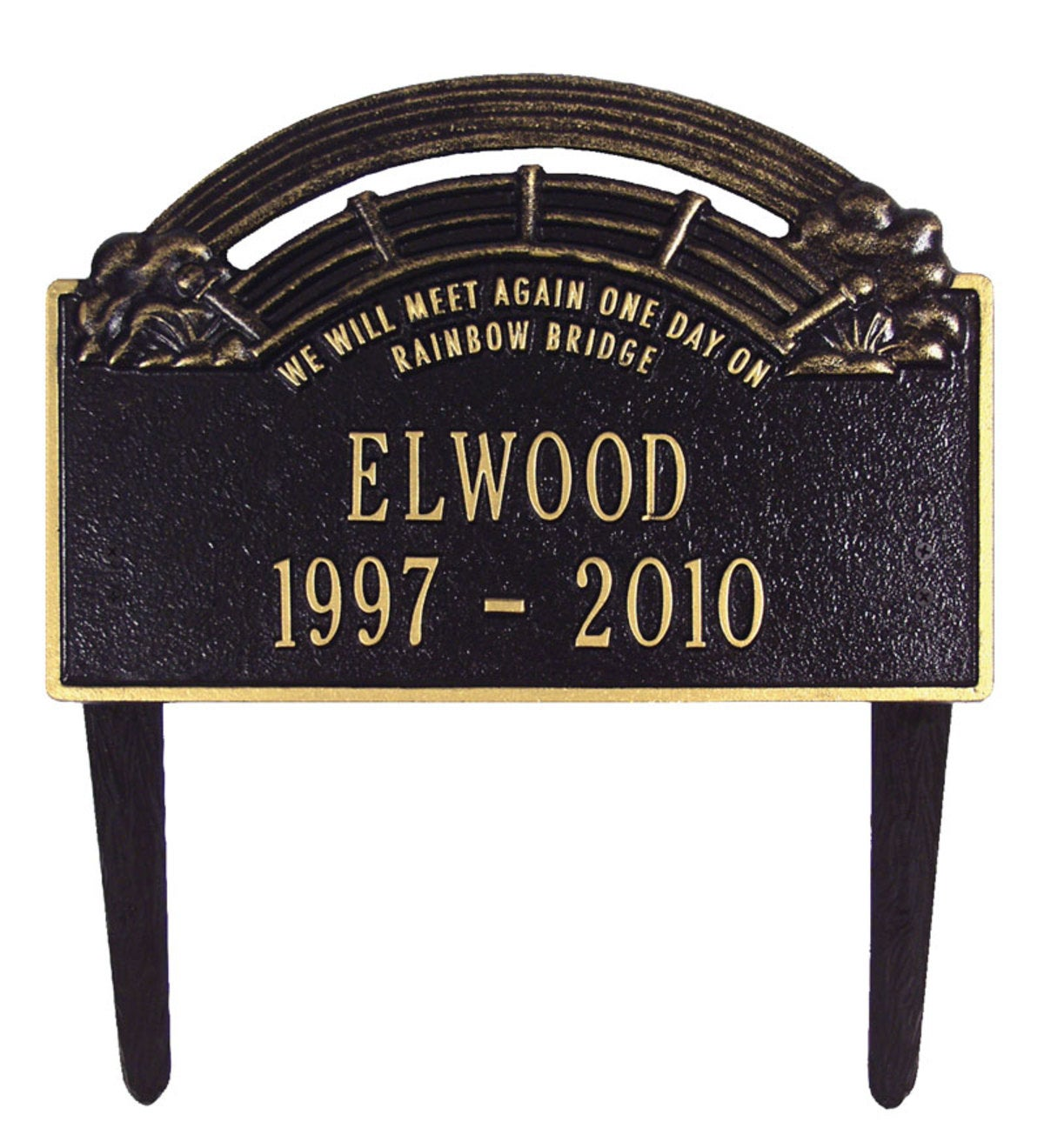 American-Made Personalized Rainbow Bridge Pet Memorial Lawn Plaque - Black