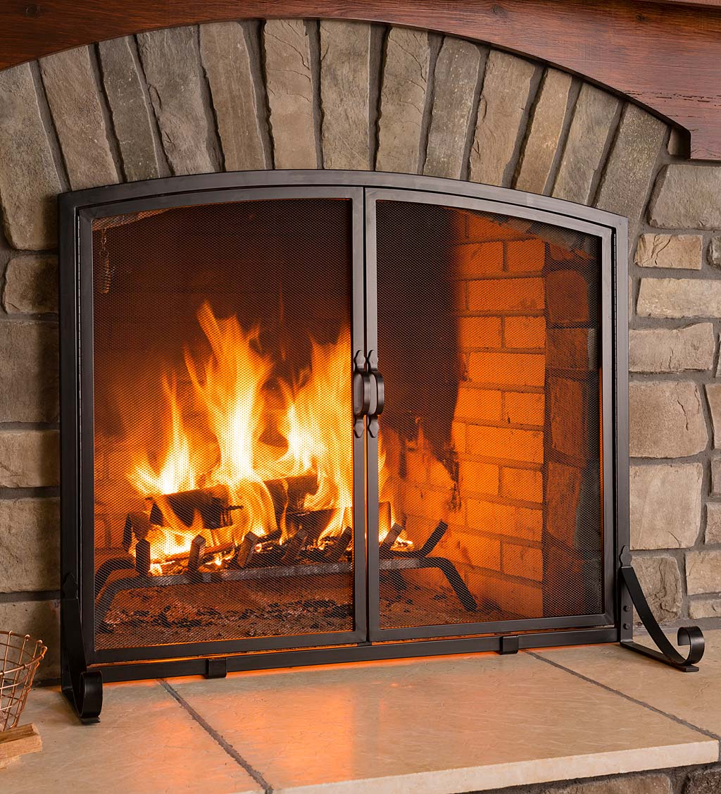 Arched Top Flat Guard Fireplace Screen With Doors Small