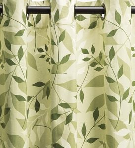 "Leaves Grommet-Top Curtains, 63""L - Green Leaves"