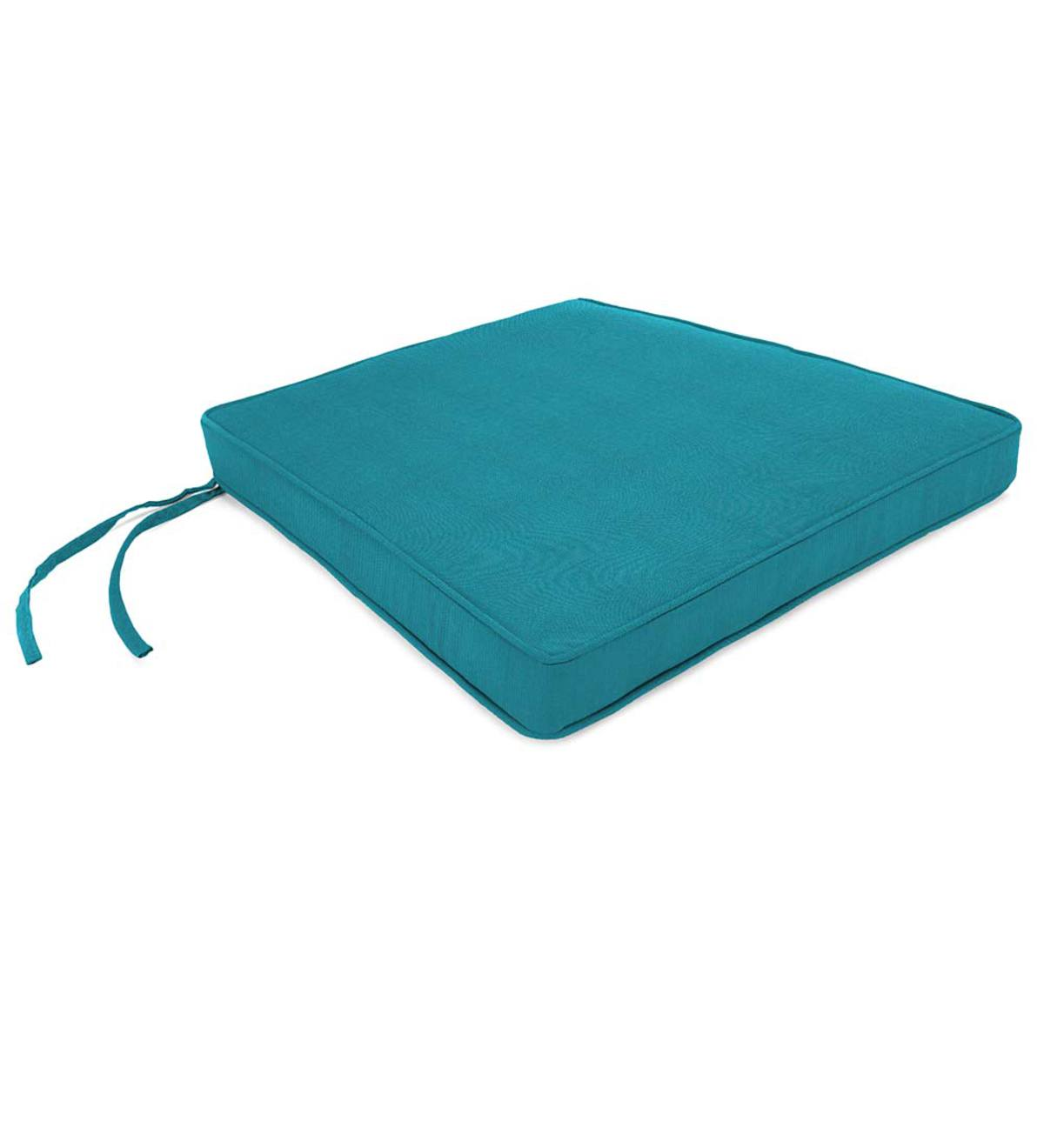 "Deluxe Sunbrella™ Square Cushion with ties 19-3/4""x 17-3/4""x 3"""
