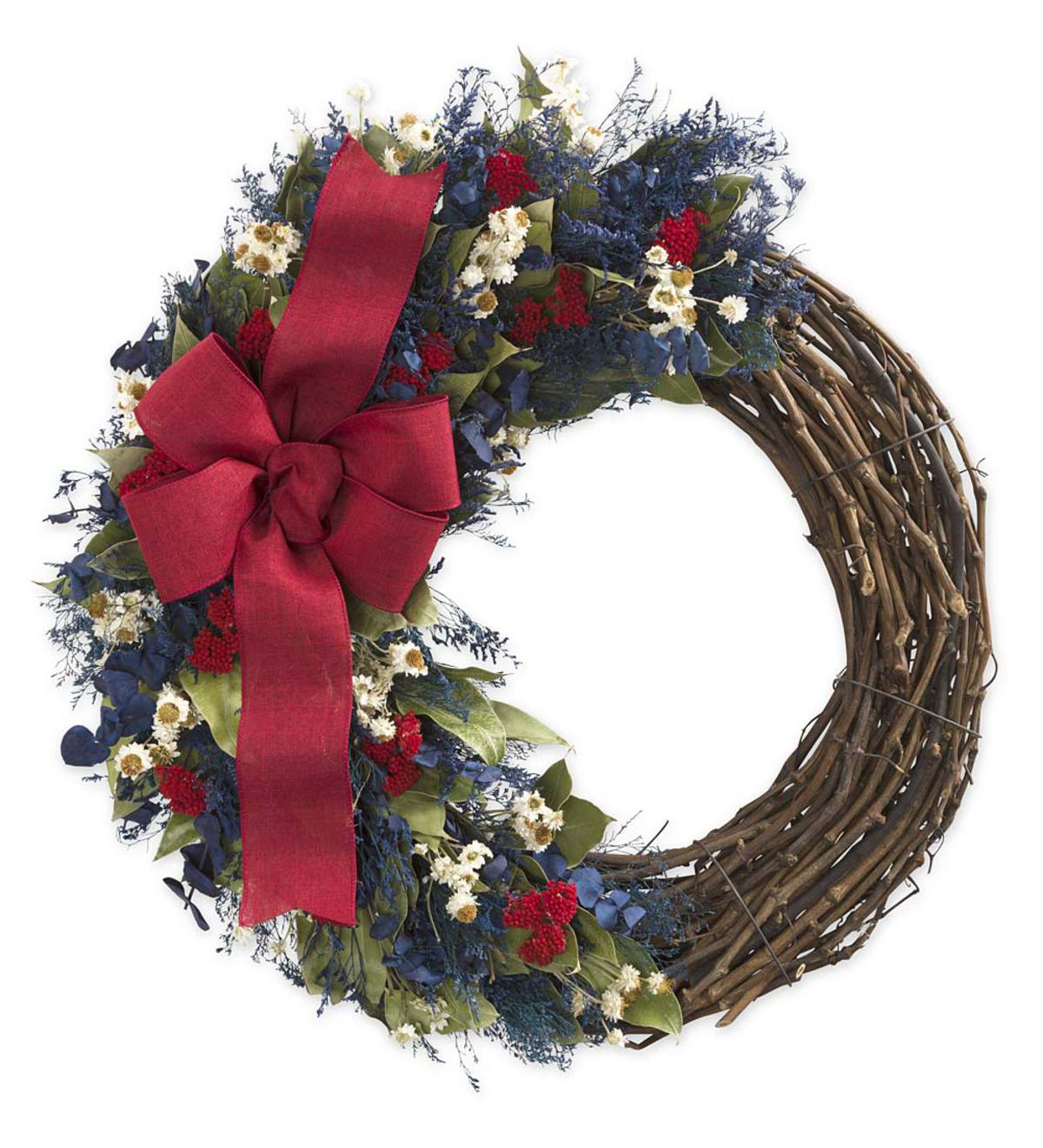 "Americana Wreath with Red Ribbon, 18""dia."