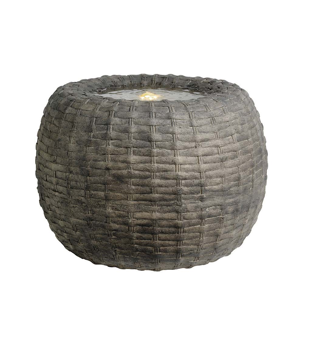 Indoor/Outdoor LED Lighted Wicker Round Basket Water Fountain