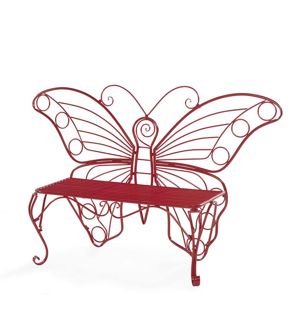 Yellow Metal Butterfly Garden Bench - Red