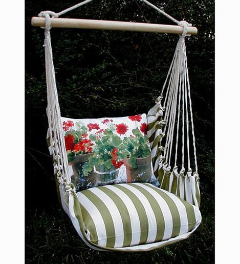 Red Geraniums Floral Hammock Swing With Tote Plowhearth