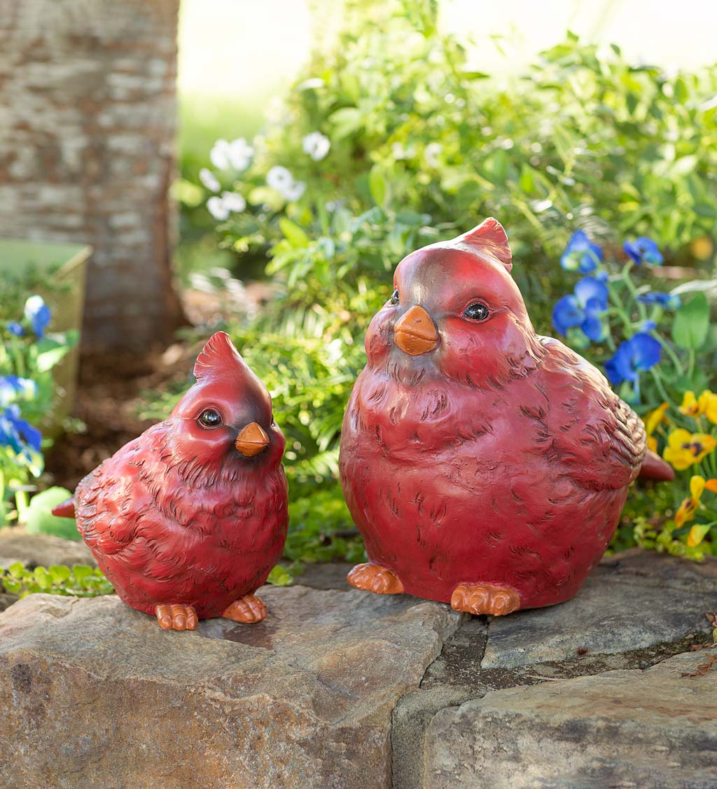 Oversized Cardinal Garden Statues, Set of 2