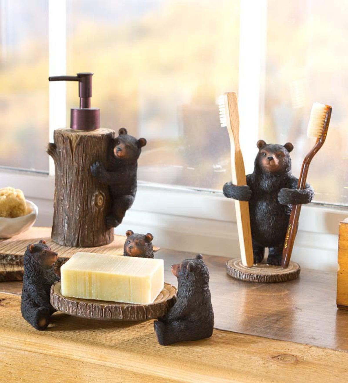 Genial Resin Bear Bathroom Set: Toothbrush Holder, Soap Dispenser And Soap Dish
