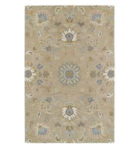 Tan Meadow Floral Vine Wool Rugs