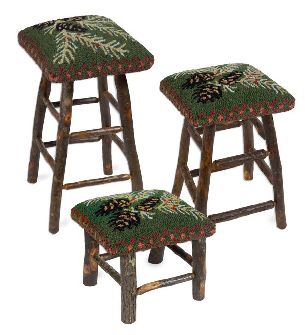Hooked Hickory And Wool Pine Cone Stools Collection
