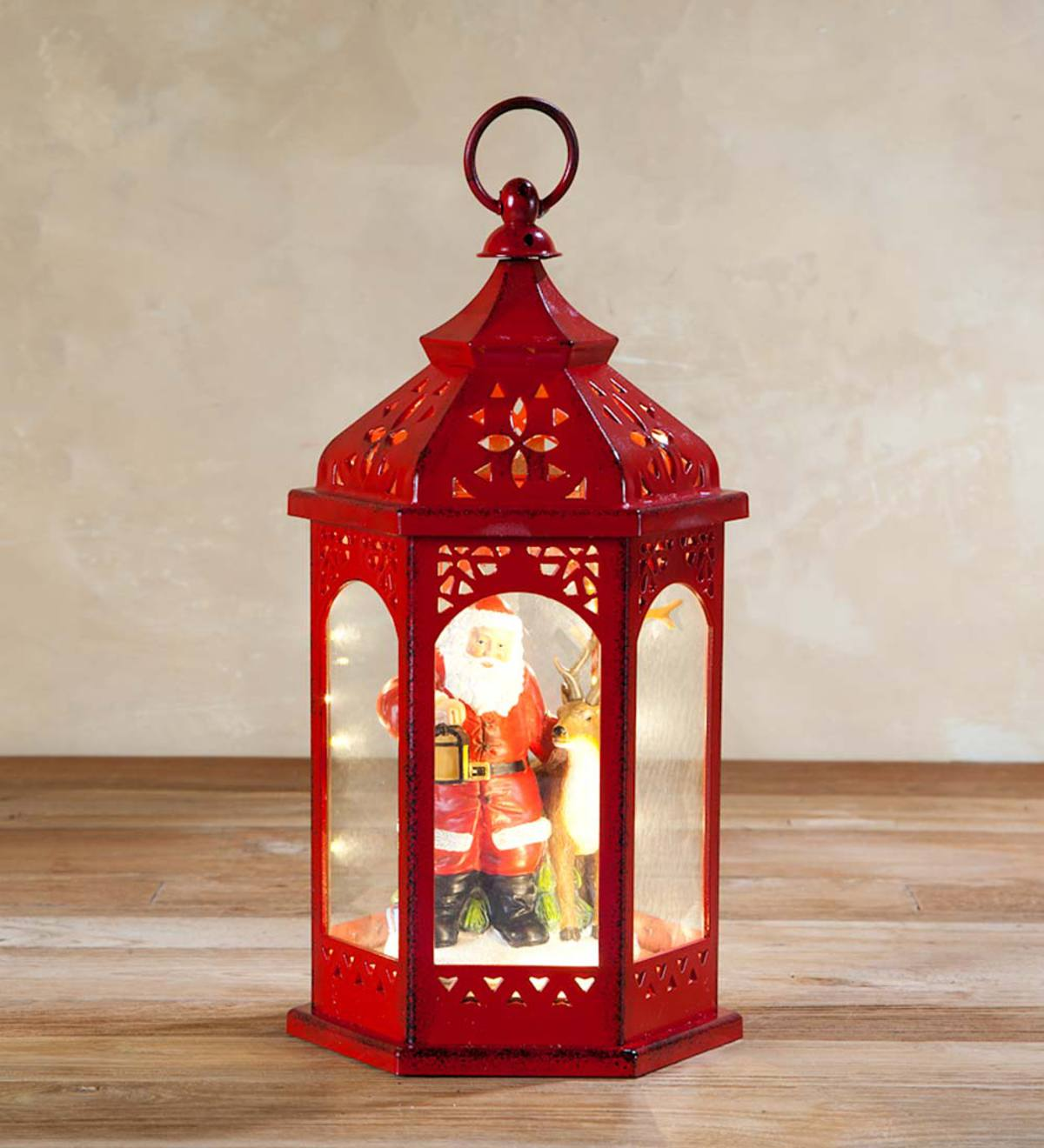 Holiday Lantern With Christmas Scene