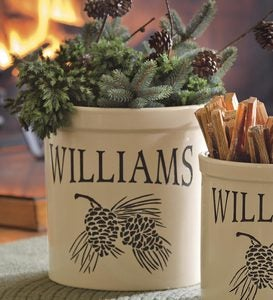 Handcrafted USA-Made Double Pinecone Personalized 3 Gallon Crock