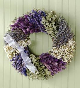 Lavender Patchwork Indoor Wreath With Bow