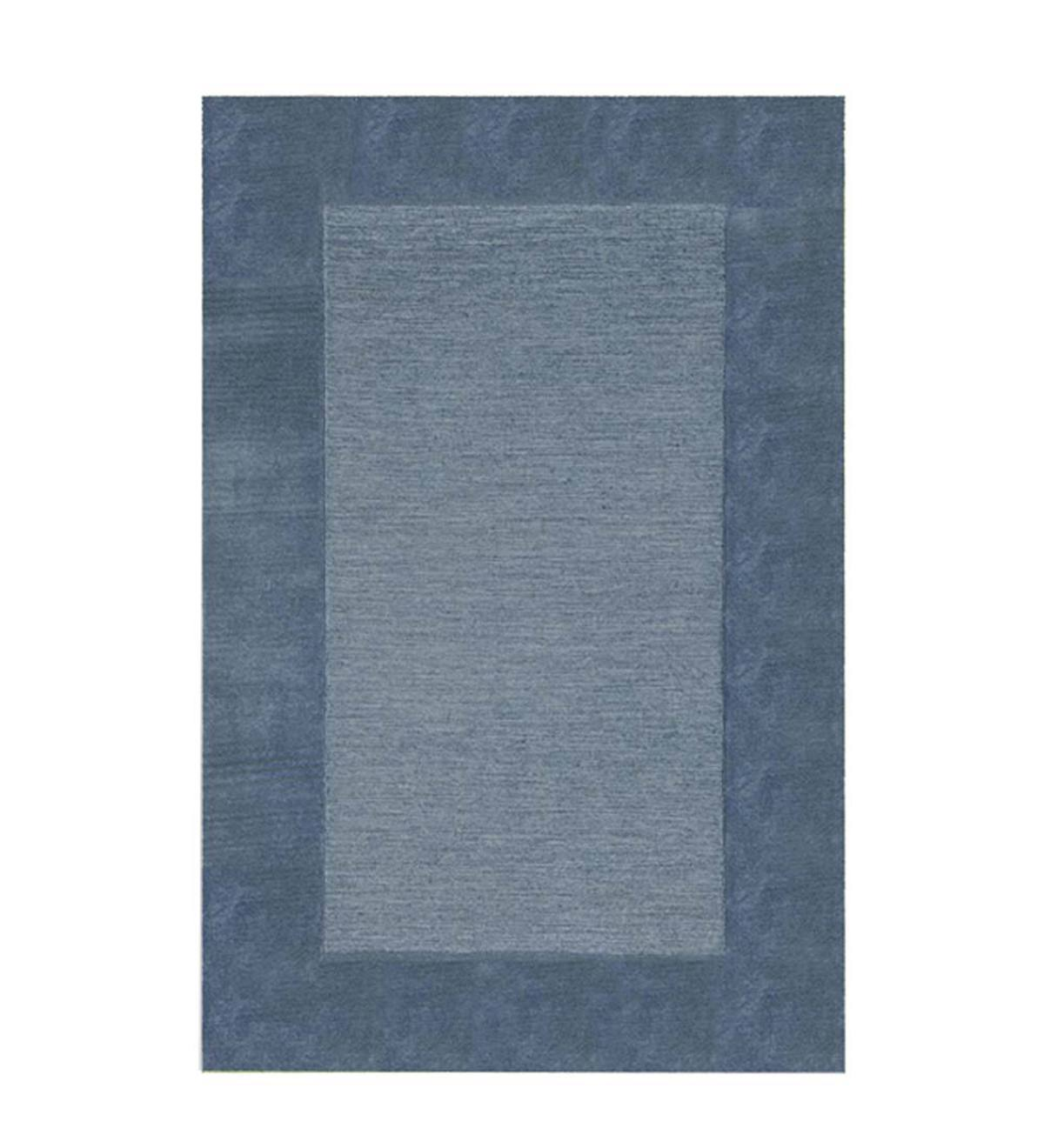 Madrid Banded Rectangular Hearth Rug, 2' x 4' - Blue Steel