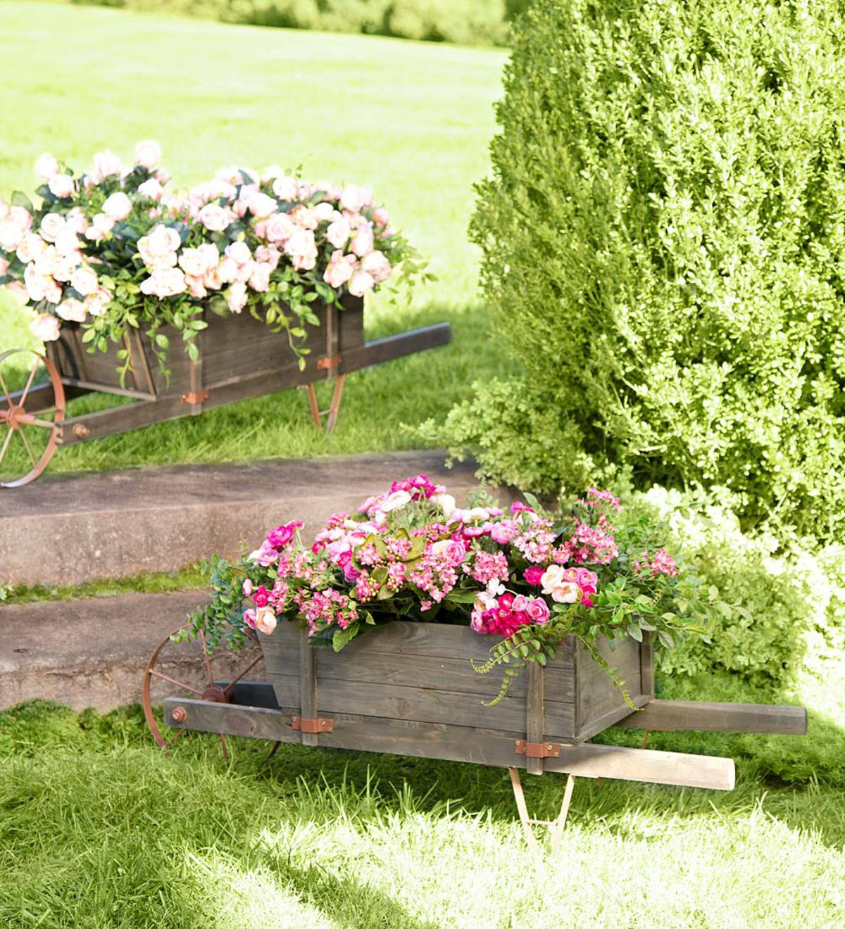 Large Decorative Wood Wheelbarrow Planter