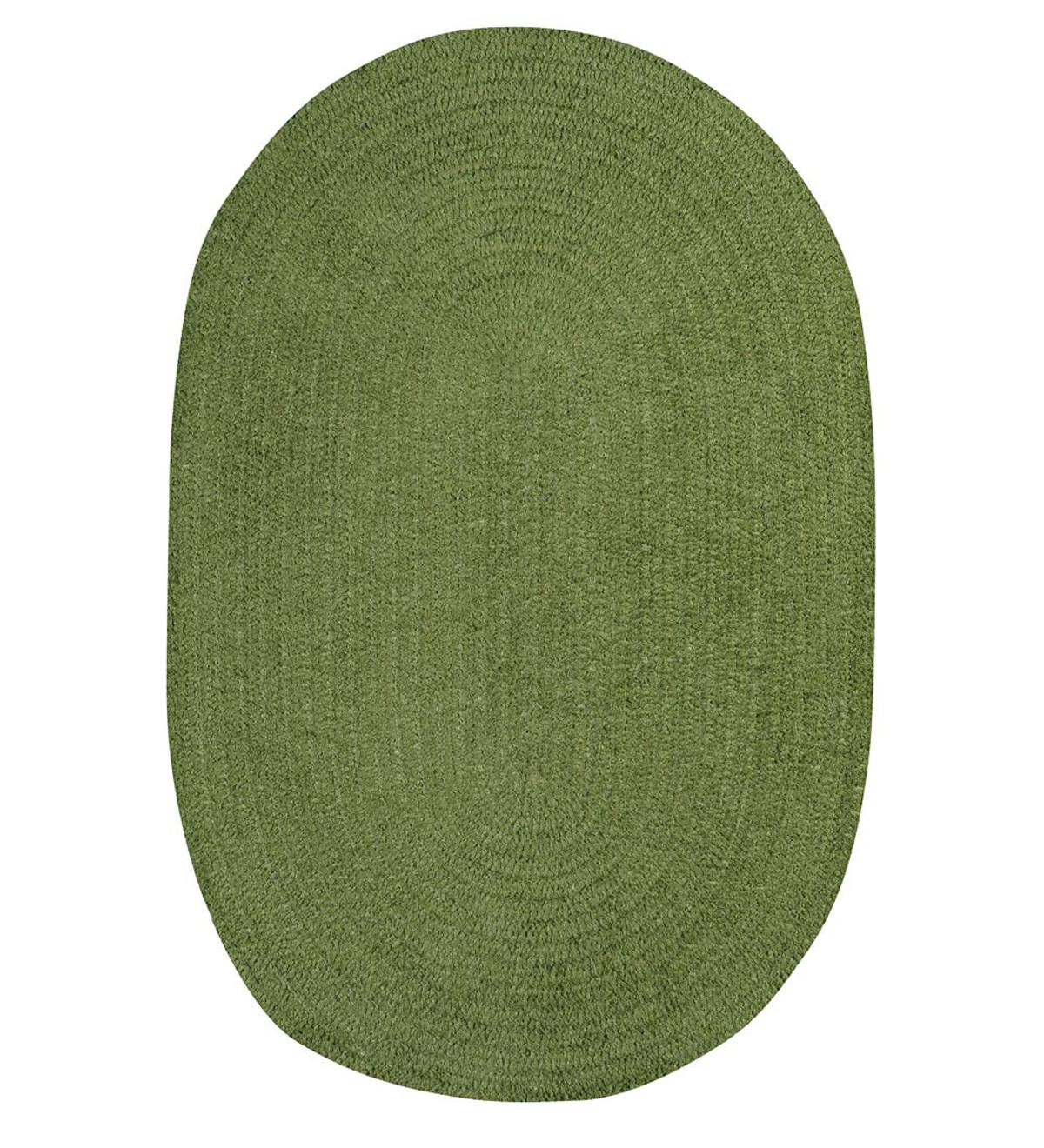 "Chenille Oval Braided Runner, 24""x 8' - Moss"