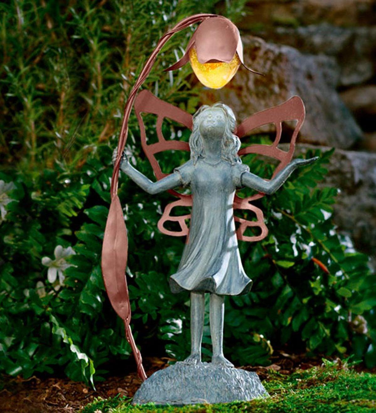 Garden Statue Fairy: Flower Fairy Garden Statue With Solar Lantern