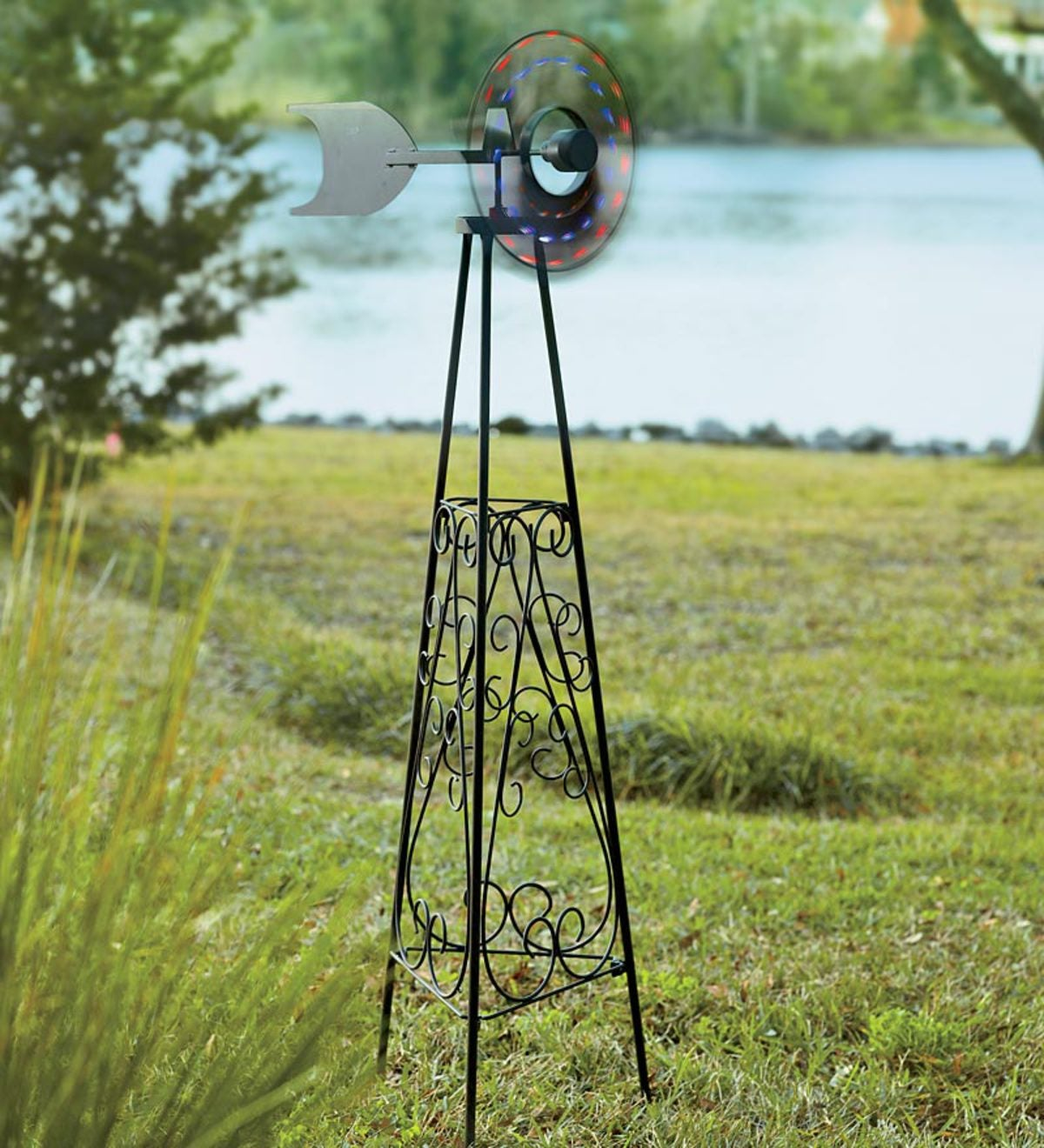 LED Garden Windmill With Decorative Metal Scrollwork Base