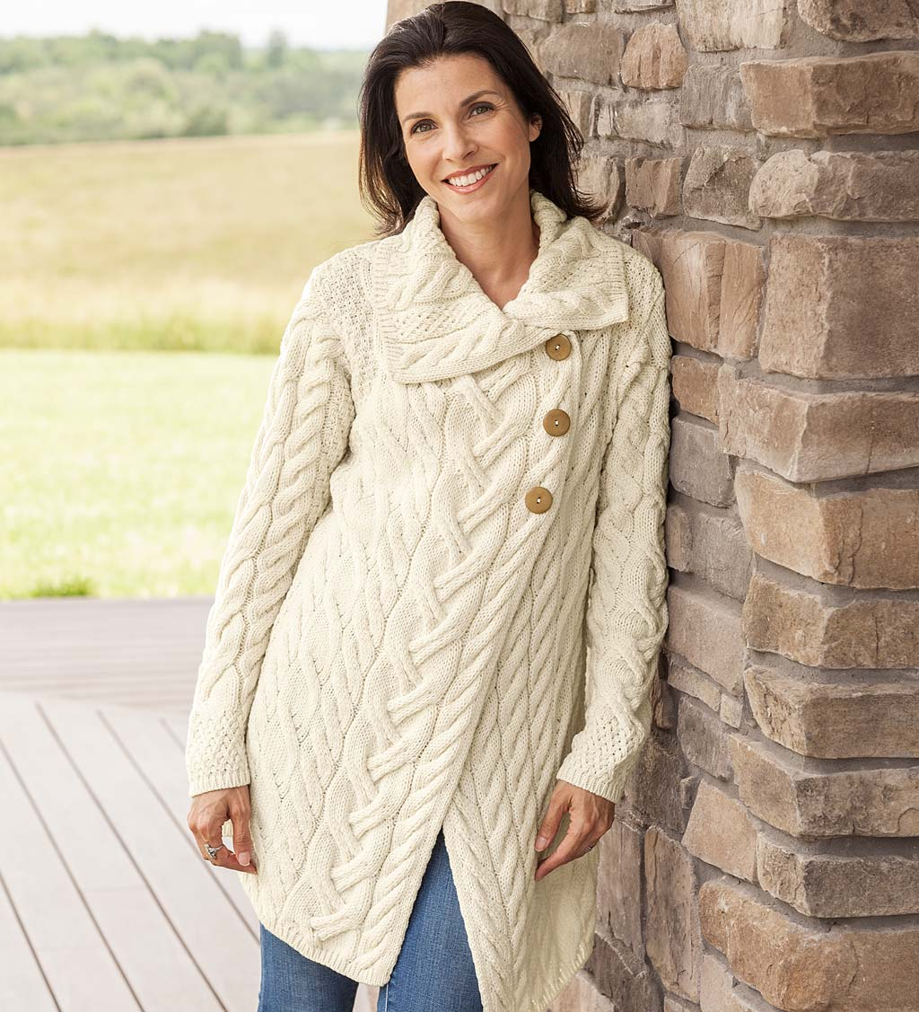 Erin Merino Wool Irish Long Cardigan swatch image