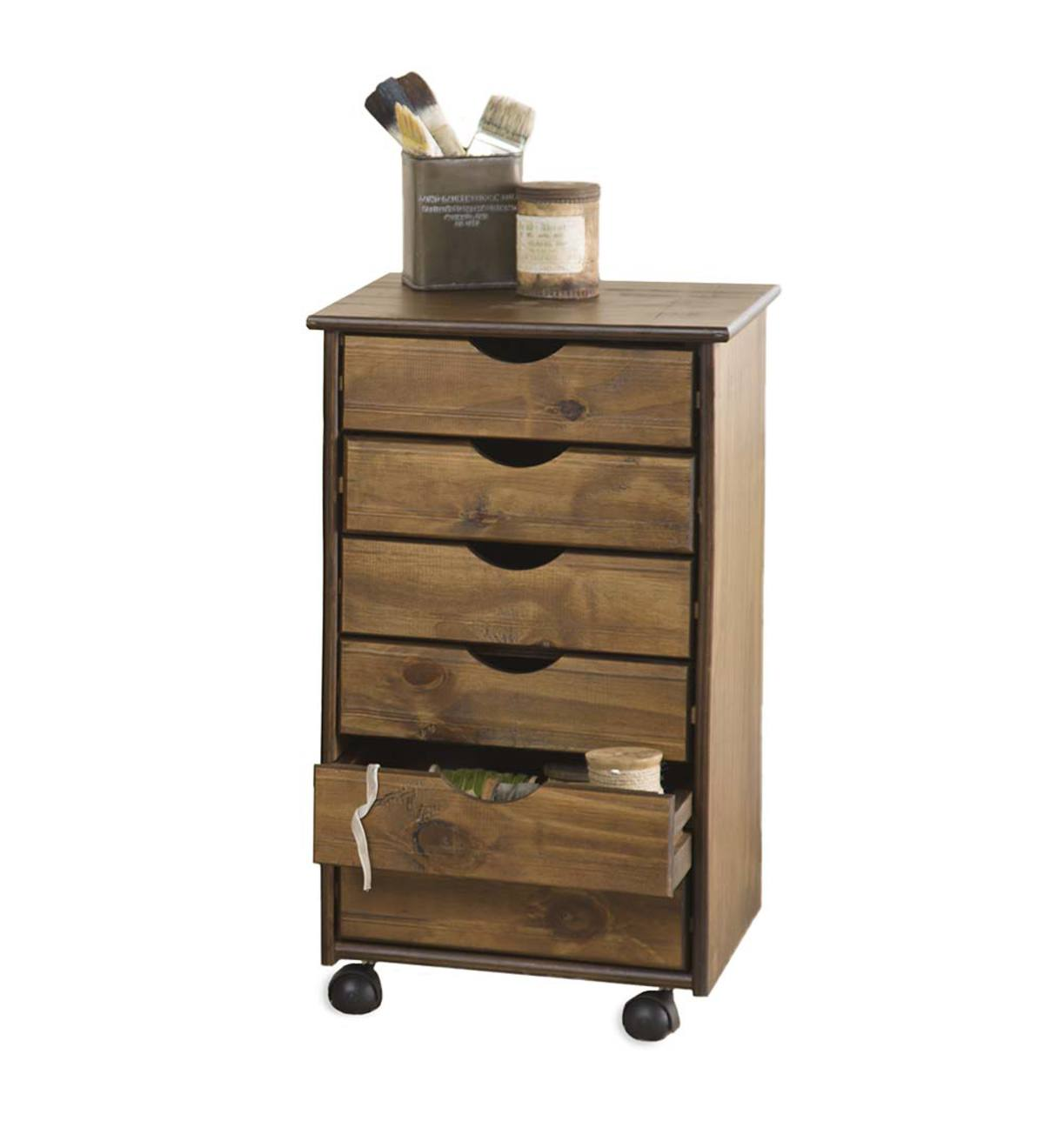 Rolling Six Drawer Wood Storage Cart
