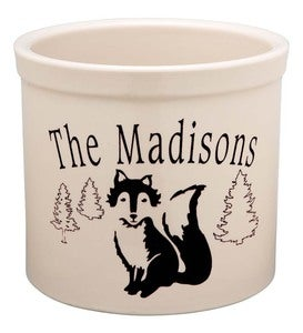 USA-Made Handcrafted Personalized Ceramic Fox Crock - Black
