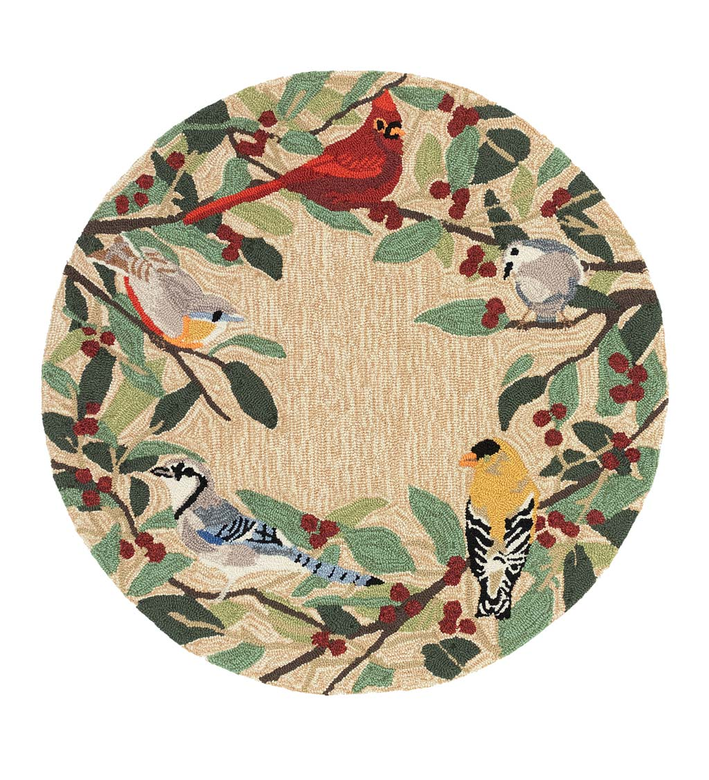 "Indoor/Outdoor Synthetic Blend Birds Border Rug, 36"" Round"