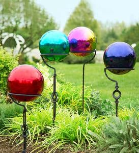Stainless Steel Gazing Balls and Iron Display Stands