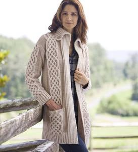 Women's Irish Long Cardigan in Merino Wool