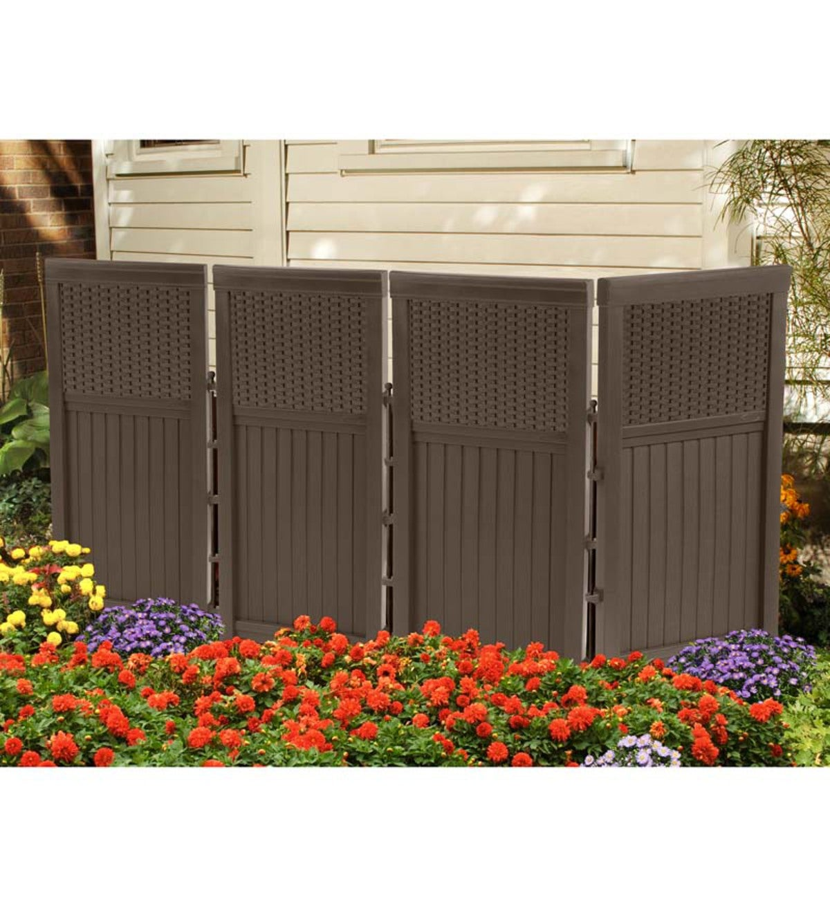 Outdoor Brown Resin Four Panel Privacy Screen Garden