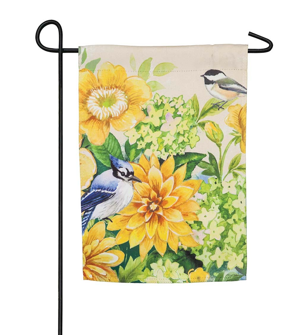 Yellow Flowers and Birds Suede Garden Flag