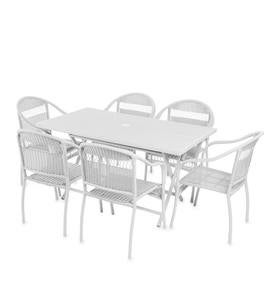 Tangier Rectangle Wicker Folding Table and 6 Stacking Chairs